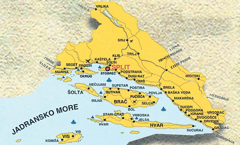 Хорватия карта побережья на русском языке
