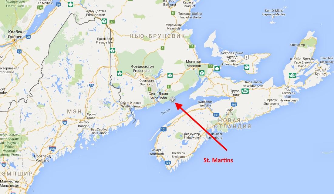 Где на карте находится залив фанди