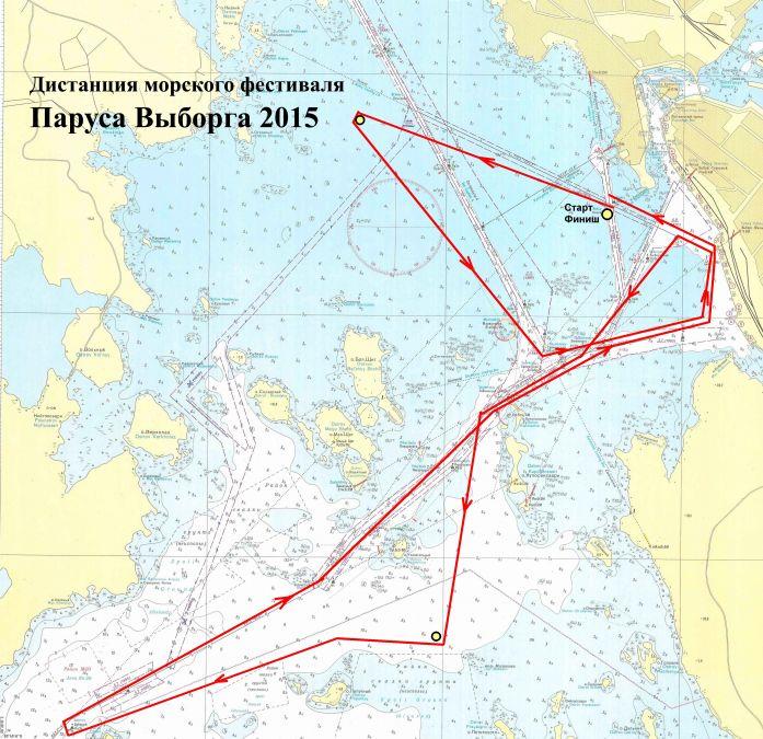 Дистанция морского фестиваля Паруса Выборга 2015